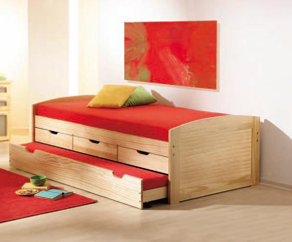 kinder ausziehbett aus kiefernholz. Black Bedroom Furniture Sets. Home Design Ideas