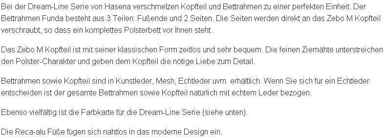 Textbeschreibung des Einbau Wasserbettes mit Polsterbettrahmen Dreamline