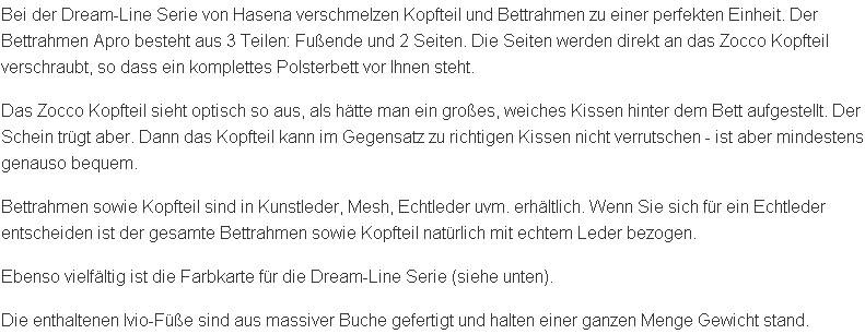 Textbeschreibung des Dream-Line Polsterbettes mit Zocco Kopfteil