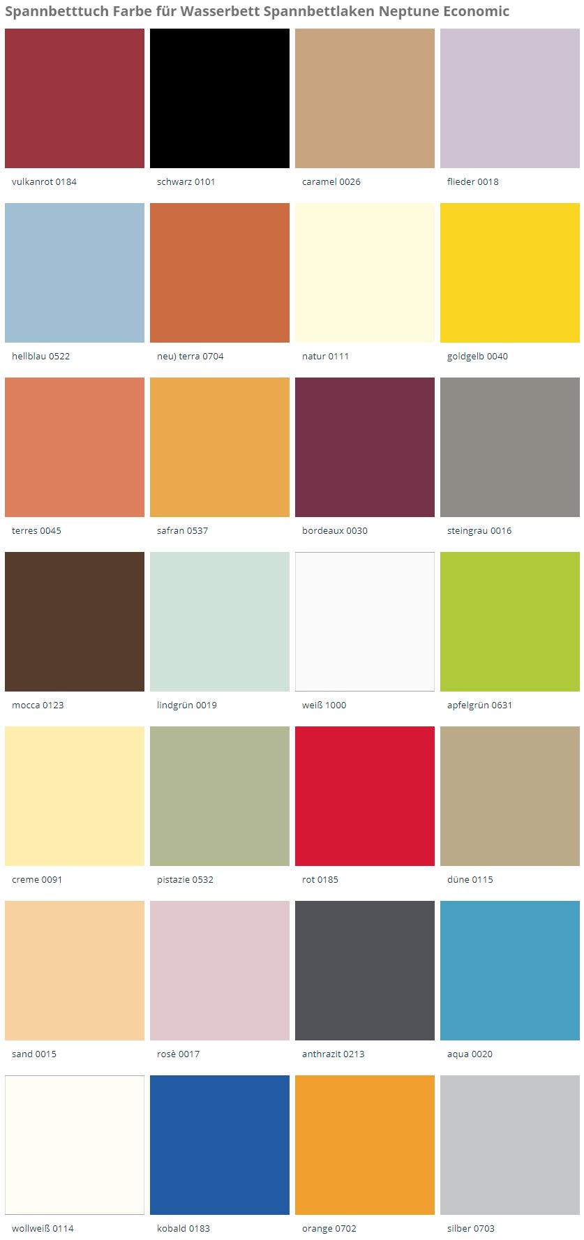 Farbkarte für Spannbetttuch Neptune Economic und SPHINX