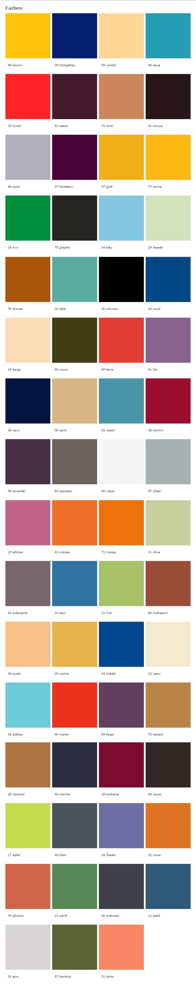 Farbkarte für Keilkissenbezüge